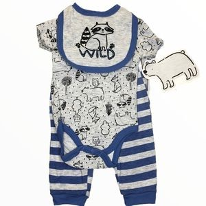 CJP BABY 3-Pc 3-6M Raccoons Foxes Bears Outfit NEW
